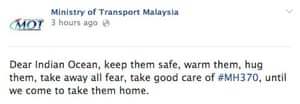 Facebook update by Malaysia's Ministry of Transport