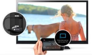 Chromecast plugged into a TV