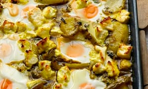 Yotam Ottolenghi's braised eggs with potato and paneer