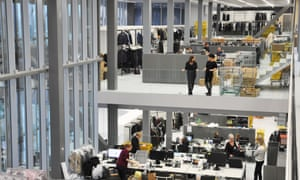 Staggered studios … the open-plan hall features split levels of offices and design departments.