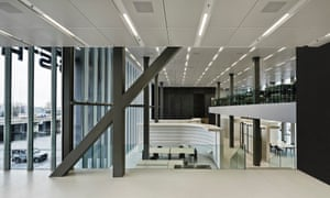 Staggered section … the shifted floor plates allow views through between departments.