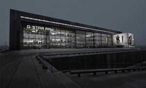 Building as billboard … G-Star uses the cantilevered glass box as an extended advertising surface.