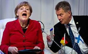 German Chancellor Angela Merkel, and Finland's President Sauli Niinisto
