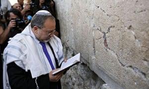 Avigdor Lieberman at the Western Wall