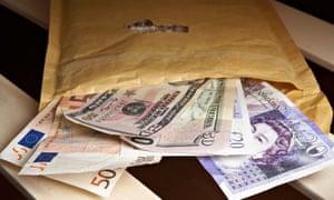 wad of cash in envelope