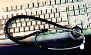 Medical doctors desk with computer
