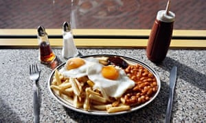 Fried eggs, chips and beans at the Mr Egg cafe, Hurst Street, Birmingham city centre
