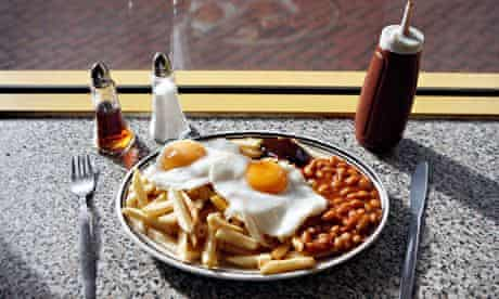 Fried eggs, chips and beans at the Mr Egg cafe, Hurst Street, Birmingham city centre