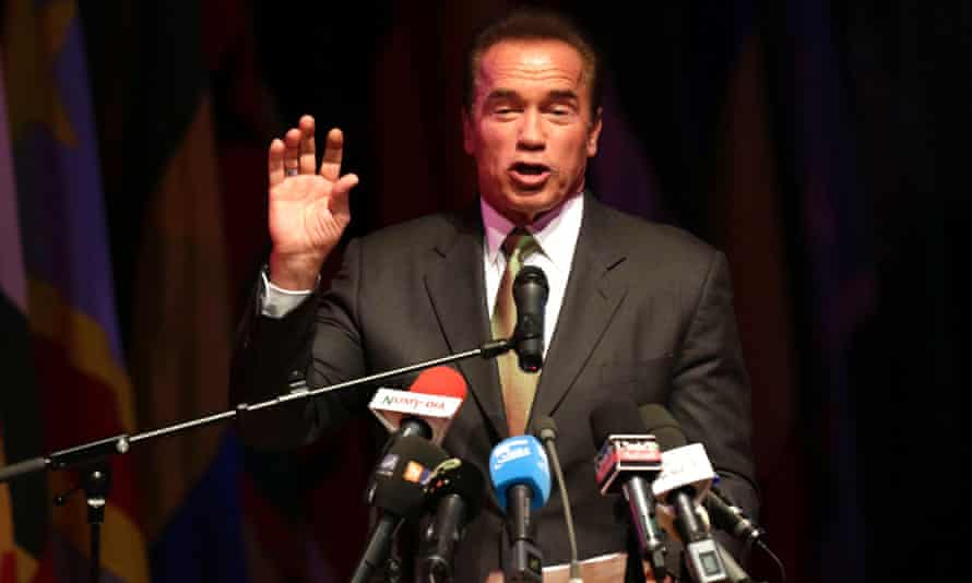 Former U.S. governor of California Arnold Schwarzenegger speaks during the opening ceremony of the African Conference on Green Economy in Oran