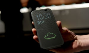 The HTC One (M8), the company's newest flagship smartphone, with its Dot View case, made its debut on 25 March.