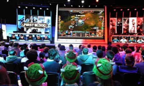 League of Legends fans watch a live game.