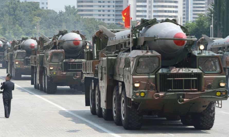 North Korean Rodong missiles during a military parade in Pyongyang