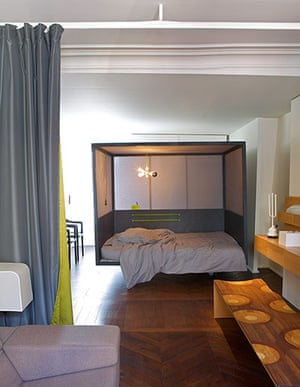 Homes - small spaces: interior of box bed in room