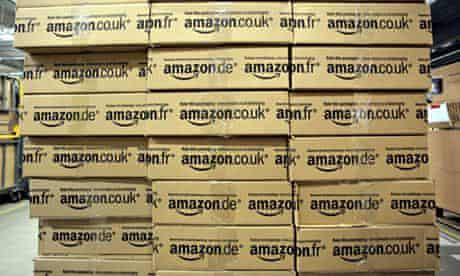 Amazon boxes stacked
