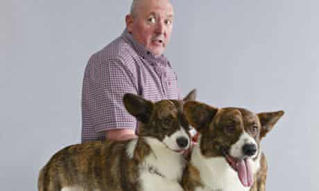 John Essenhigh with Baggins and Betty, Cardigan Welsh corgis