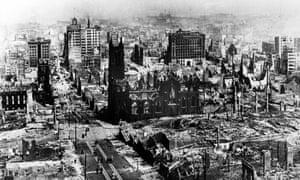 San Francisco, looking east towards Yerba Buena, after the 8.3 magnitude earthquake of 1906.