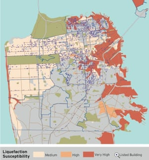 A map from the University of California-Berkeley showing areas susceptible to liquefaction in the event of a major quake
