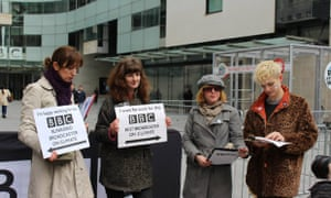 Climate Rush campaigners protest at BBC climate coverage