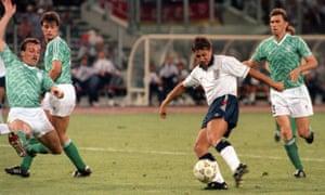 Gary Lineker scores for England.