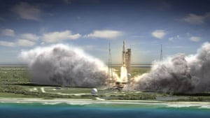 Space Launch System Blasts Off This artist rendering shows a wide-angle view of the liftoff of the 70-metric-ton (77-ton) crew vehicle configuration SLS from the launchpad. The first flight test of NASA's new rocket is scheduled for 2017.