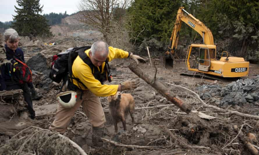 The mudslide occurred when the rain-soaked side of a mountain in Snohomish County broke free and slammed into the homes, highway and a river below.