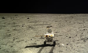 Photo taken by the landform camera on the Chang'e-3 moon lander shows the Yutu moon rover during Chang'e-3 lunar probe mission's first lunar day circle.