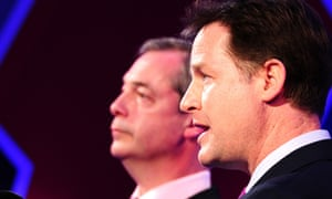 Deputy Prime Minister Nick Clegg (right) and Ukip leader Nigel Farage, debate Britain's future in the European Union live on LBC.