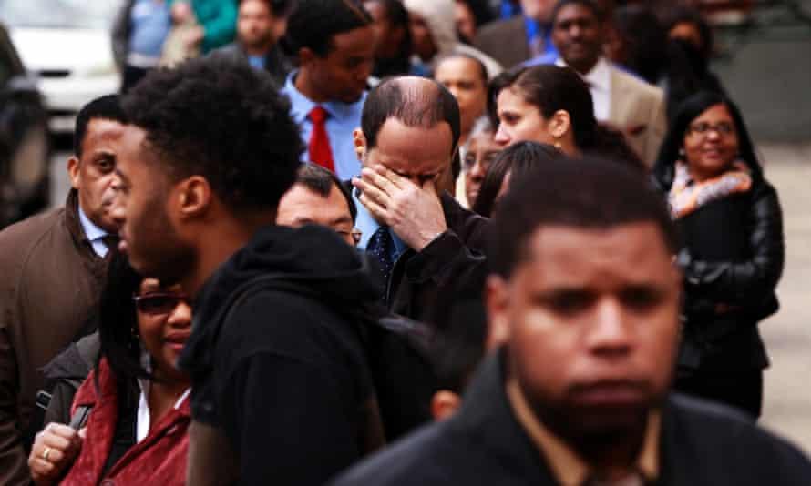 US Money unemployment line job fair