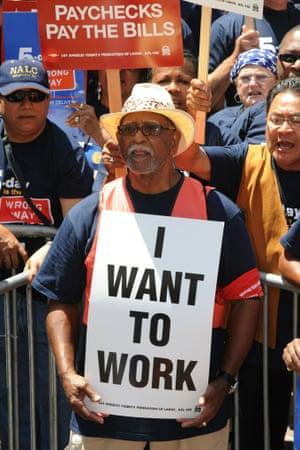 US money unemployed protest long term jobs