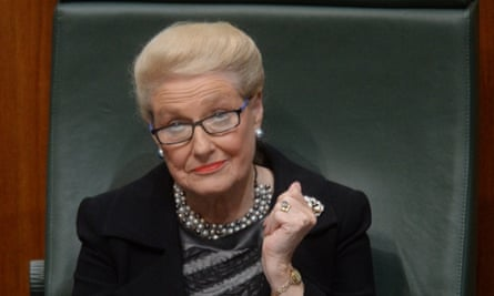 Bronwyn Bishop reacts as the opposition attempts to move a no confidence motion during question time