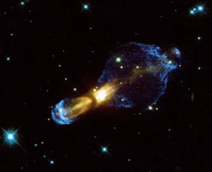 A Hubble Space Telescope image of the Rotten Egg Nebula, a pre-planetary nebula 5000 light years away in the constellation of Puppis.