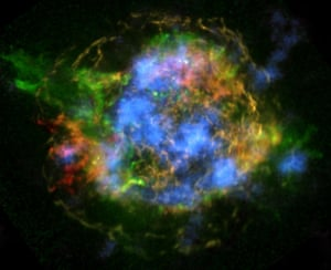 This is the first map of radioactivity in a supernova remnant, the blown-out bits and pieces of a massive star that exploded. The blue color shows radioactive material mapped in high-energy X-rays using NuSTAR.