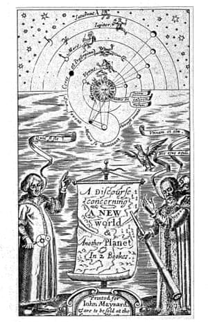 The frontispiece of Wilkins's 1640 A Discourse Concerning a New World with Copernicus and Galileo standing before the Copernican universe
