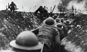WW1 british troops over the top battle of somme 1916