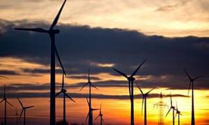 Sunset behind wind turbines