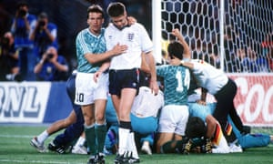 Chris Waddle is consoled by Matthaus.