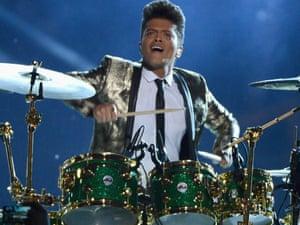 Bruno Mars performing at the SuperBowl