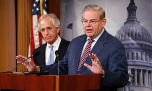 Senate foreign relations committee chairman Robert Menendez, right, with ranking member Bob Corker.
