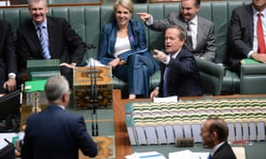 Shorten of money? The leader of the opposition reacts to Malcolm Turnbull during question time.