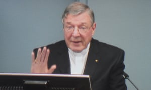 A still from the webcast live feed of Pell giving evidence.