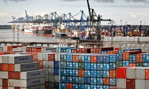 Cargo containers at Felixstowe port