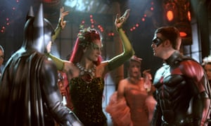 George Clooney, Uma Thurman, Chris O'Donnell  as Batman, Poison Ivy and Robin   in Batman & Robin (1997) directed By Joel Schumacher.