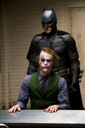 Christian Bale as Batman and Heath Ledger as The Joker in The Dark Knight (2008) directed Christopher Nolan.