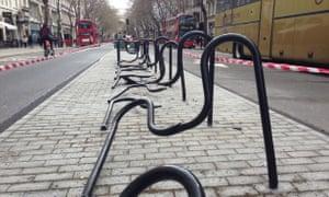 Bike racks run over by a truck in Camden.