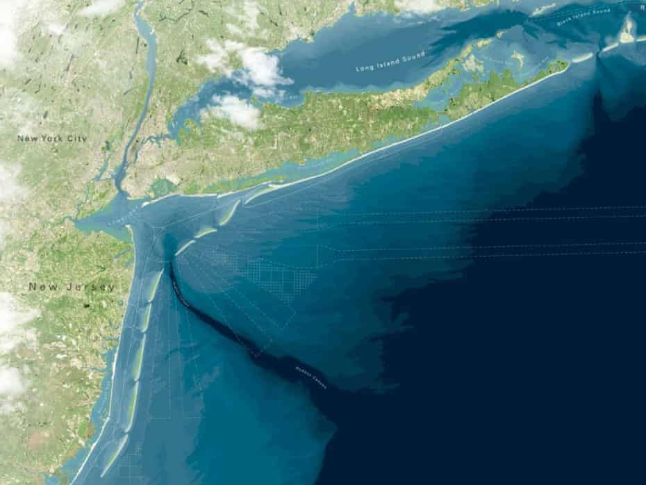 An artist rendering of a proposed project to create a string of artificial barrier islands off the coast of New Jersey and New York.