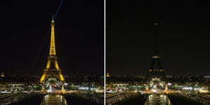 In Paris the illuminated Eiffel Tower on the left and with the lights turned off for the Earth Hour.