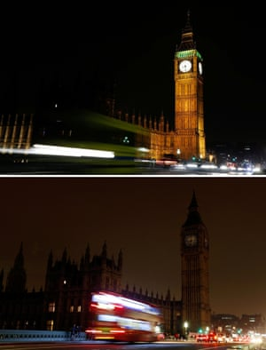 Big Ben and the Houses of Parliament in London which went dark for an hour tonight as part of Earth Hour.