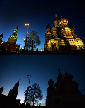 The St. Basil Cathedral and Spasskaya tower of the Kremlin the Red Square in central Moscow before Earth Hour and during Earth Hour when it became submerged in darkness.