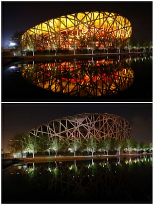 """The National Stadium, also known as the """"Bird's Nest"""", reflected in a lake before and during Earth Hour at the Olympic Park in Beijing."""