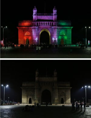 The Gateway of India monument before and during Earth Hour in Mumbai.